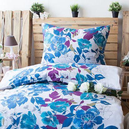 XPOSE ® Bavlněné povlečení na dvě lůžka ANDREA - modrá 140x200, 70x90