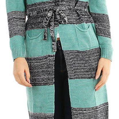 Dlouhý pruhovaný svetr s páskem zelená