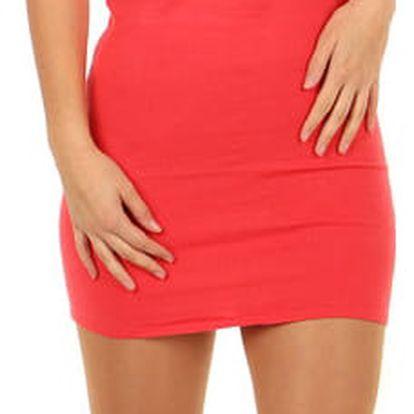 Úpletové mini šaty s průsvitnou vrchní částí korálová
