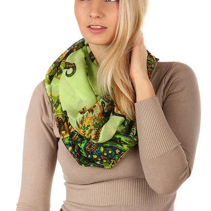 Kruhový šátek s nápaditým potiskem tyrkysová