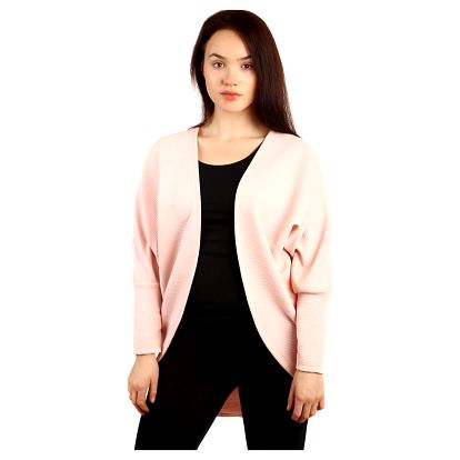 Oversized svetr bez zapínání - i pro plnoštíhlé světle růžová