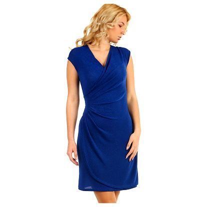 Třpytivé šaty se zavinovacím efektem modrá