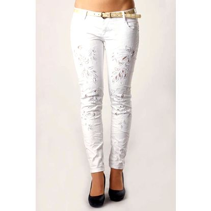 Dámské bílé džíny s kamínky bílá
