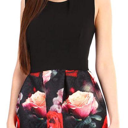 Krátké dámské šaty květovanou sukní černá