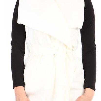 Dámská jednobarevná vesta s páskem bílá