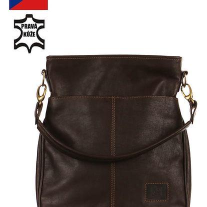 Velká kožená kabelka - Česká výroba tmavě hnědá