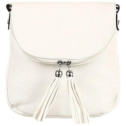 Malá kabelka se střapci bílá