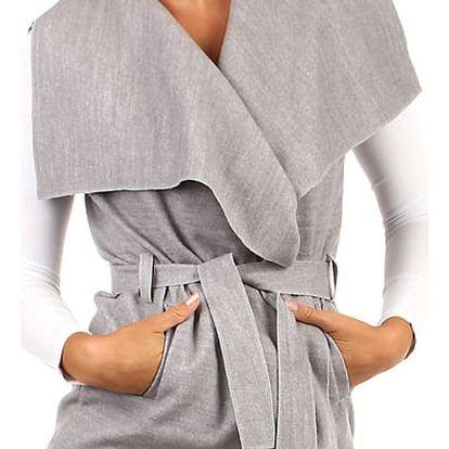 Dámská vesta se širokým límcem a páskem světle šedá