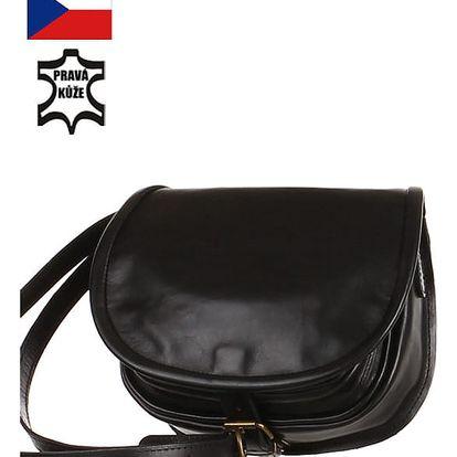 Malá lovecká kabelka z pravé kůže - Český výrobek černá