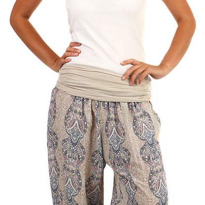 3/4 dámské harémové kalhoty se vzorem béžová