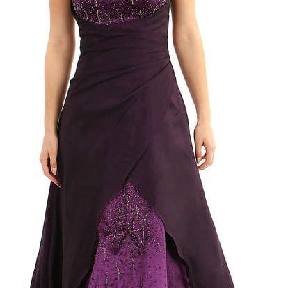 Dlouhé fialové šaty s kamínky - II.jakost fialová