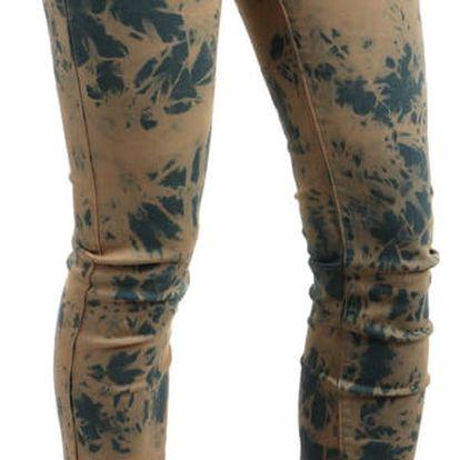 Dámské batikované kalhoty- i pro plnoštíhlé hnědá