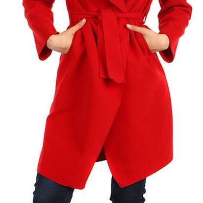 Dlouhý dámský kabát - kardigan s páskem červená