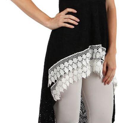 Krajkované šaty s delším zadním dílem černá