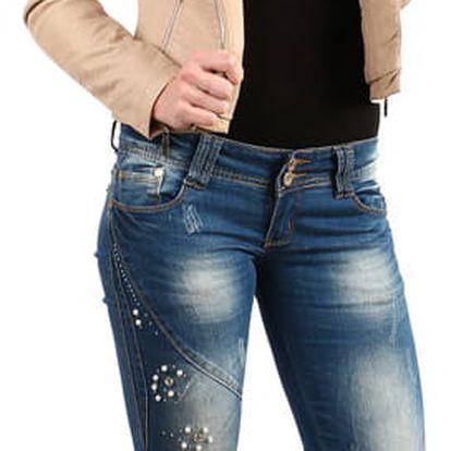 Dámské džíny s perlovou aplikací modrá
