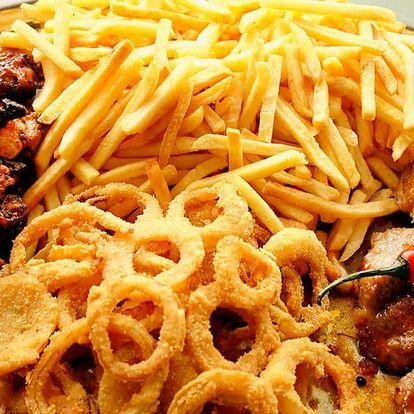 Masové plato s přílohami: 1300 g jídla + dipy