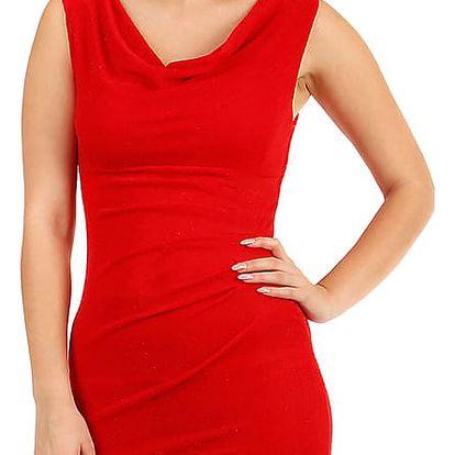 Třpytivé šaty s volným výstřihem červená
