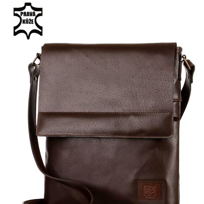 Velká kožená taška s popruhem - Česká výroba tmavě hnědá