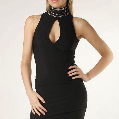 Dámské černé šaty za krk - zeštíhlující černá