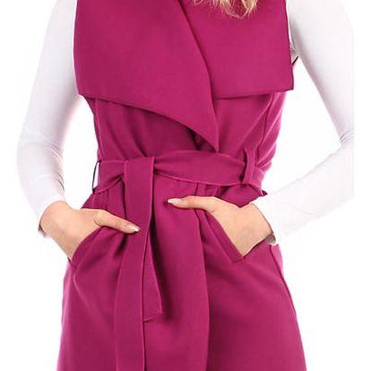 Dámská jednobarevná vesta s páskem tmavě růžová