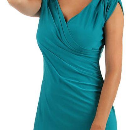 Dámské šaty se zavinovacím efektem - i pro plnoštíhlé modrá