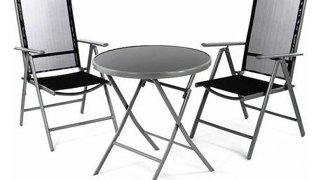 Garthen 36492 Zahradní balkónový set židle a stůl - černé