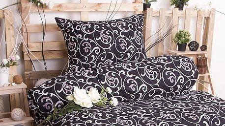 XPOSE ® Prodloužené bavlněné povlečení ELIZABETH - černá 140x220, 70x90