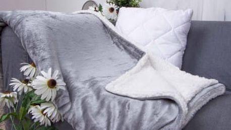 XPOSE ® Deka mikroflanel s beránkem - světle šedá 140x200 cm
