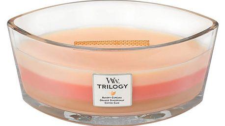 Svíčka s vůní koláče, pomeranče a zázvoru WoodWick Trilogy Čerstvý koláč, dobahoření80hodin