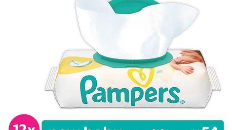 12x PAMPERS New Baby Sensitive S VÍČKEM 54 ks - vlhčené ubrousky