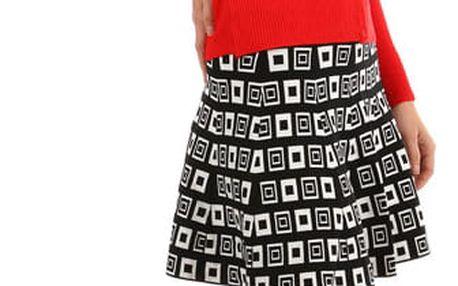 Retro sukně áčkového střihu zimní černá