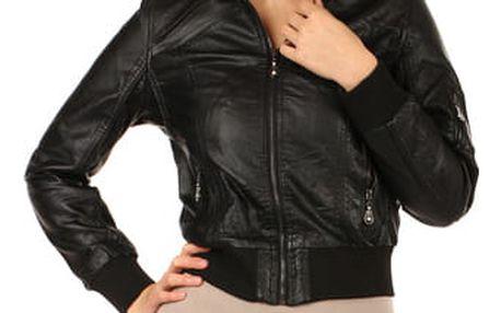 Dámská koženková bunda na zip černá