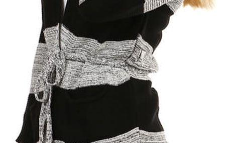Dlouhý pruhovaný svetr s páskem šedá