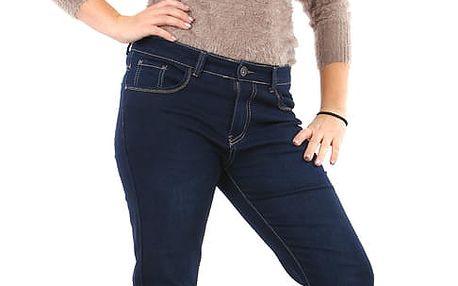 Dámské rovné tmavé džíny - pro plnoštíhlé modrá