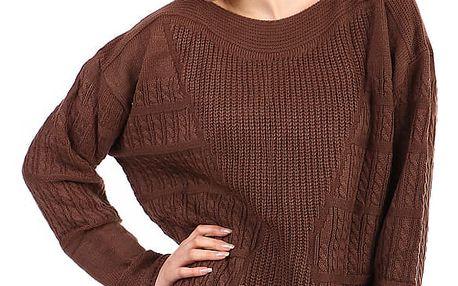 Dámský oversized svetr - i pro plnoštíhlé hnědá