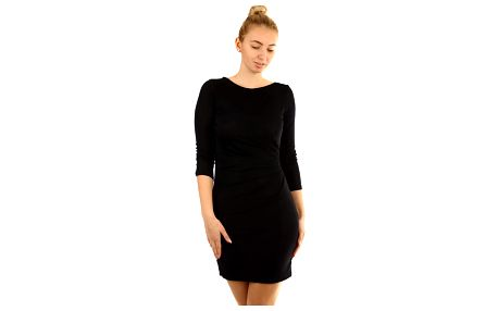 Třpytivé šaty s 3/4 rukávem černá