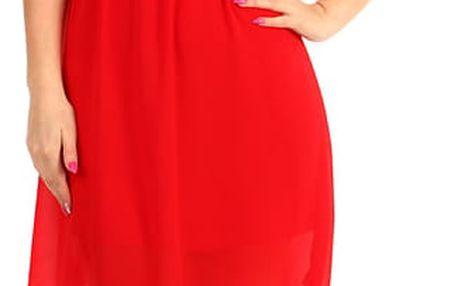 Krátké šaty s krajkovými zády červená
