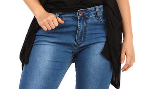 Dámské tmavé džíny pro plnoštíhlé modrá
