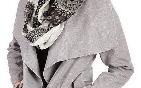 Dámský krátký kabátek s páskem světle šedá