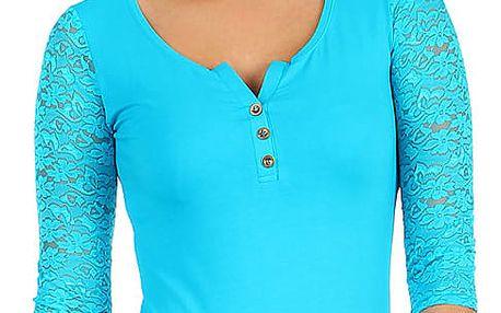 Dámské tričko s krajkovými 3/4 rukávy modrá