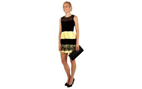 Elegantní dvoubarevné šaty s krajkou žlutá