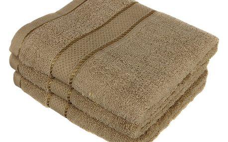 Froté ručník se vzorem Menheten hnědá