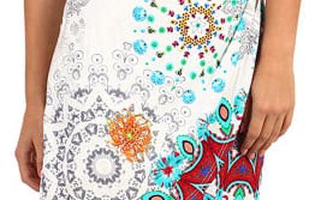 Pestrobarevné zavinovací šaty - i pro plnoštíhlé bílá