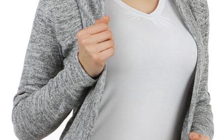 Stylový cardigan s dlouhým rukávem světle šedá