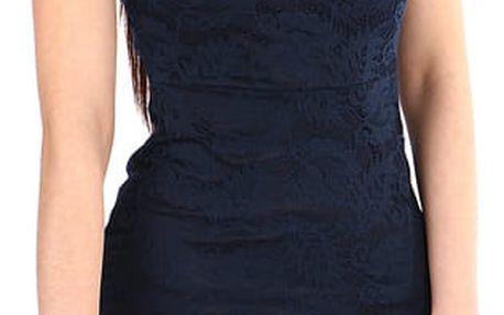 Dámské krajkované šaty s krátkým rukávem tmavě modrá