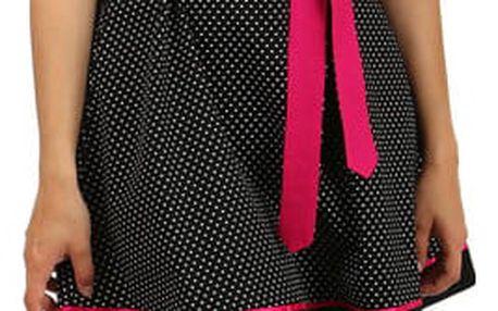 Bavlněné šaty s puntíky a páskem červená