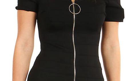 Krátké přiléhavé šaty se zipem černá