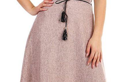 Dlouhá dámská úpletová sukně růžová