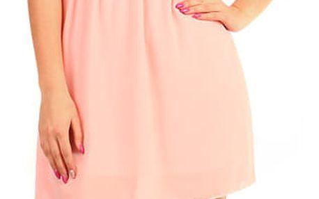 Krátké šaty s krajkovými zády růžová