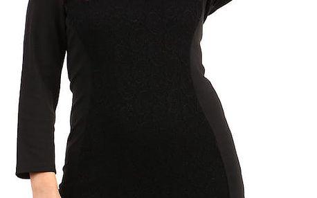 Černé šaty s krajkou a dlouhým rukávem - pro plnoštíhlé černá